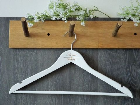 Personalised White Wooden Wedding Hanger Bride Bridesmaid - Heart